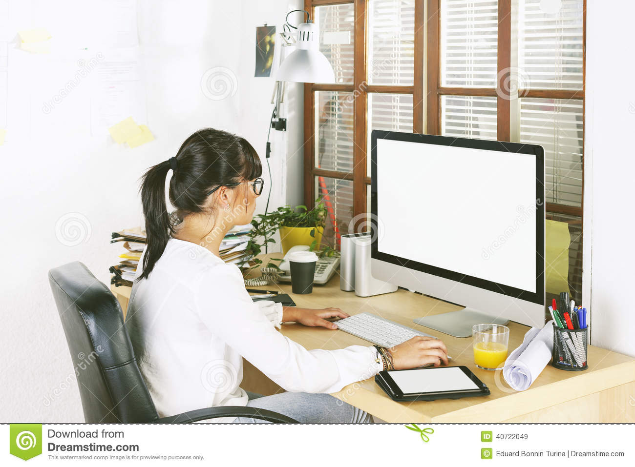 Wondrous Young Entrepreneur Woman Working On Home Office Stock Photo Largest Home Design Picture Inspirations Pitcheantrous