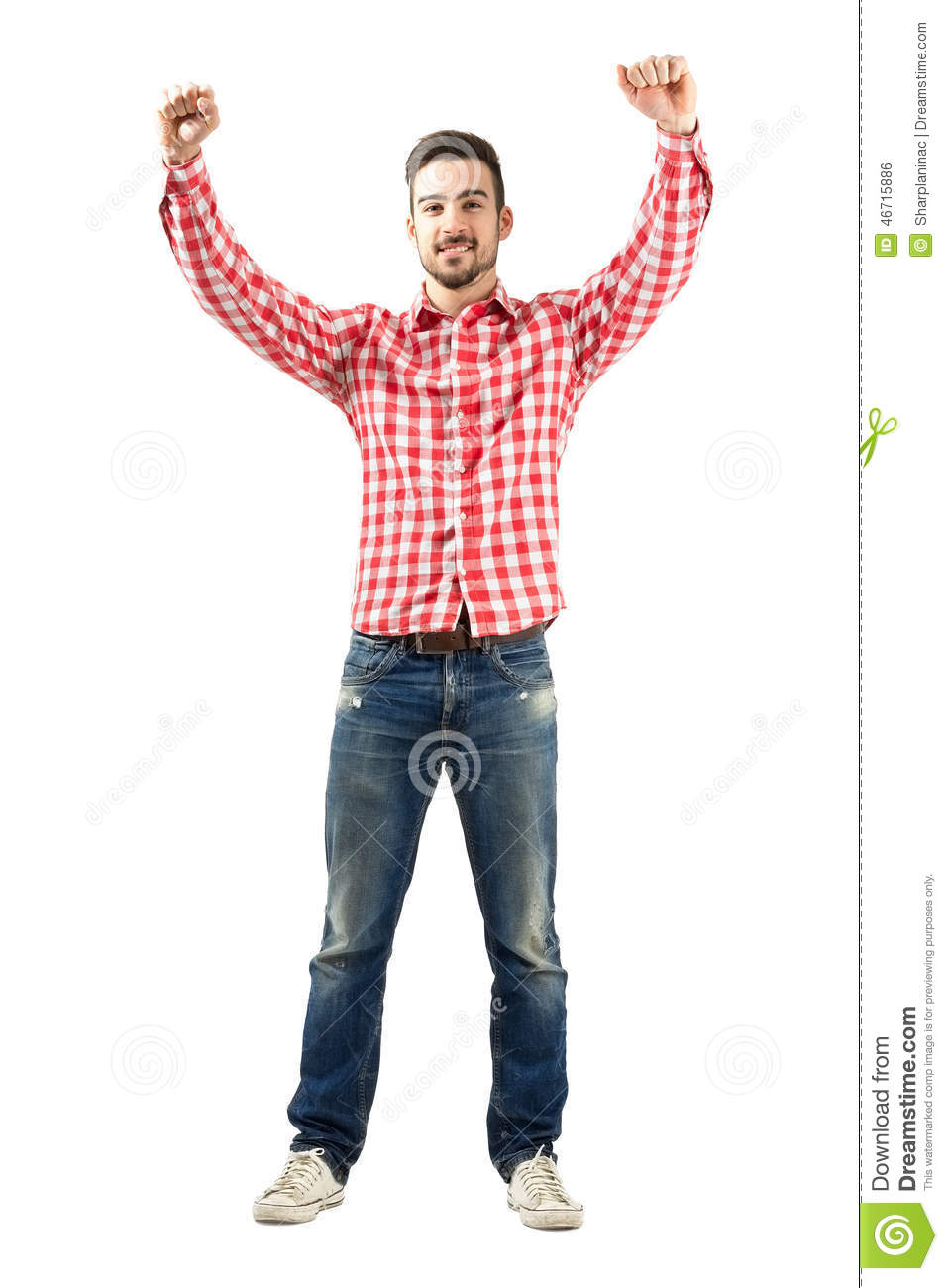 Young Excited Man With Supportive Encouraging Raised Hands ...
