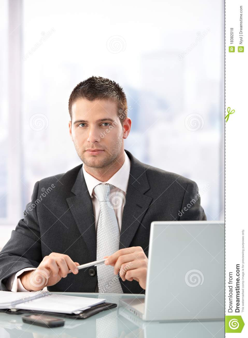 Young Executive Sitting In Bright Office Royalty Free