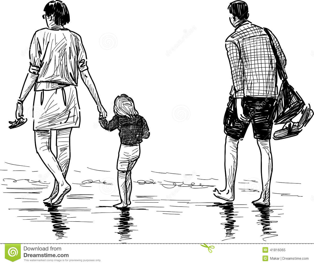 Young Family On A Beach Stock Vector Illustration Of View 41816065