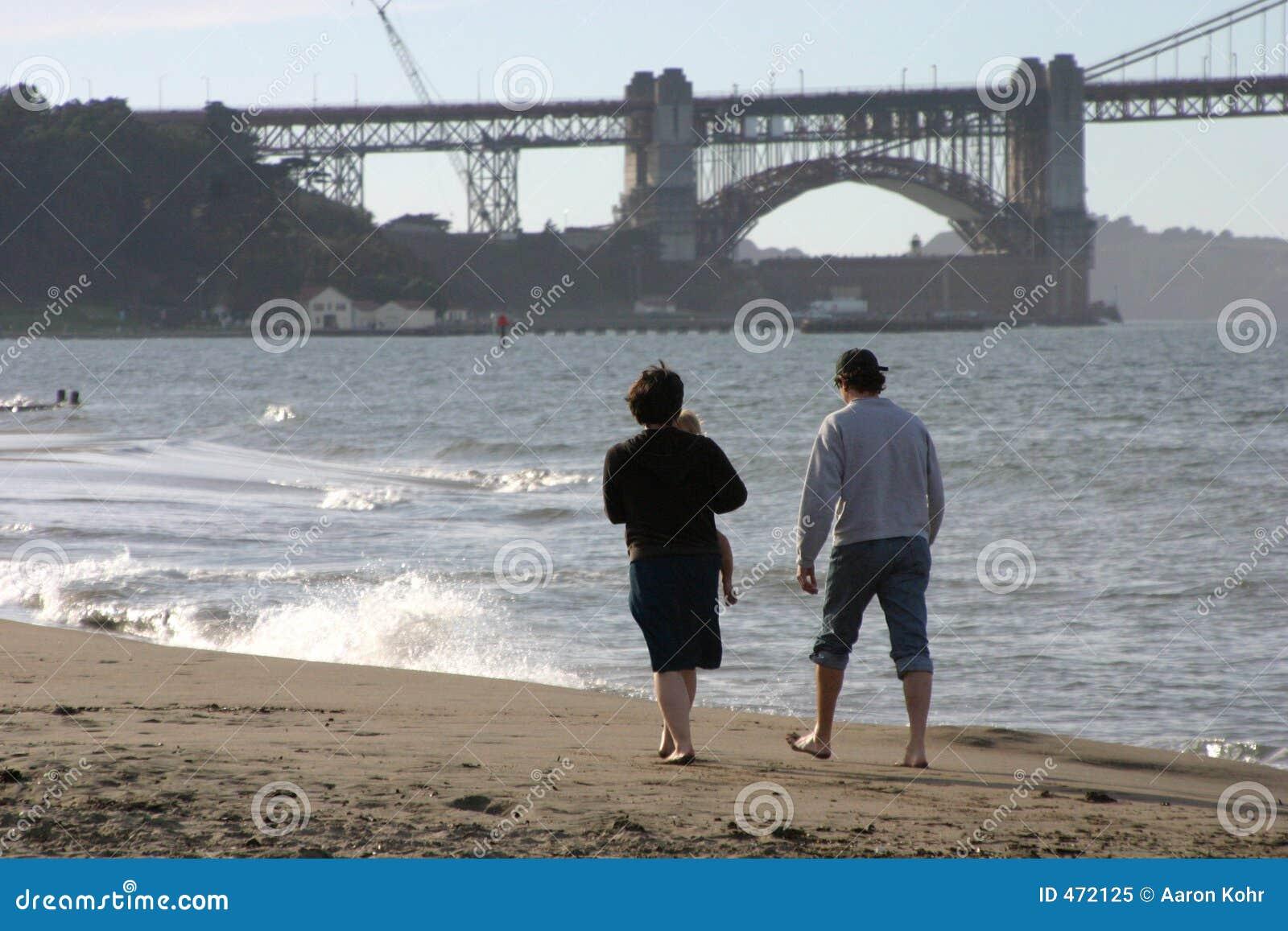 Young Family Beach Walk