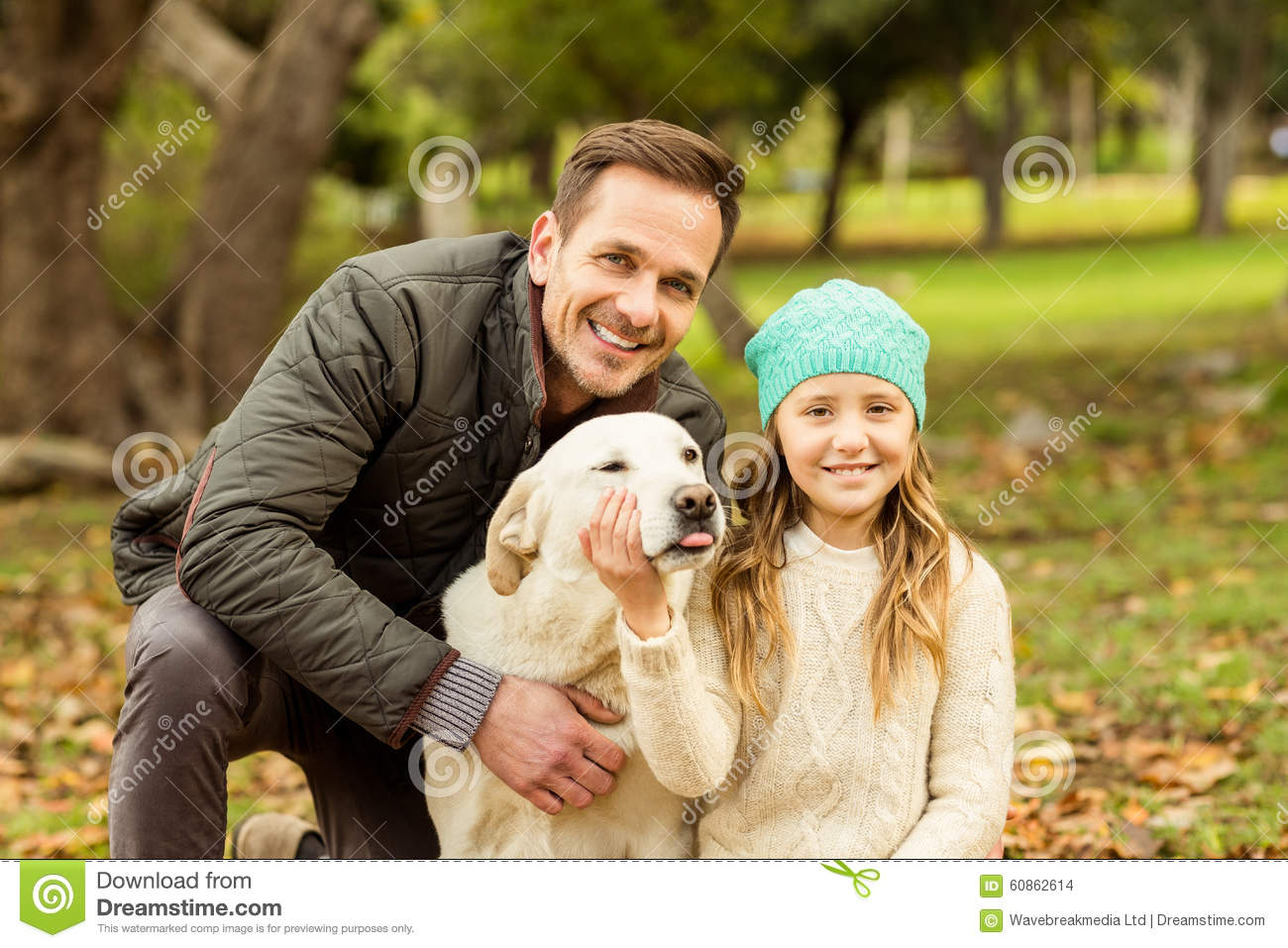 Young family with a dog