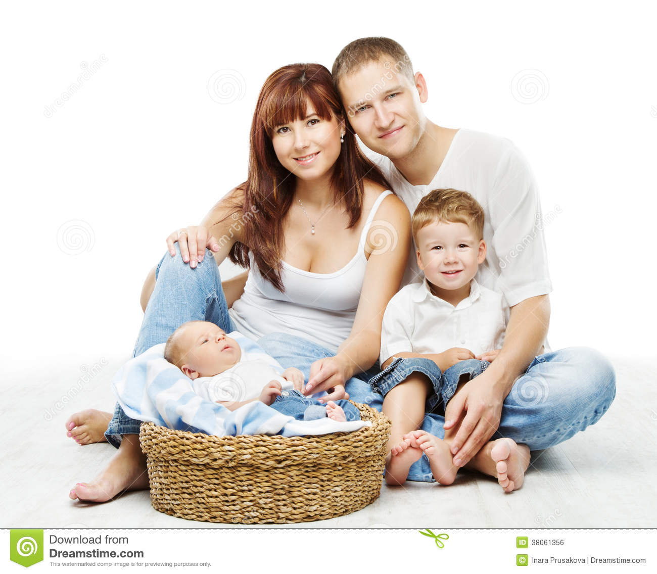 Young Family Four Persons, Smiling Father Mother Two ...: http://dreamstime.com/royalty-free-stock-image-young-family-four-persons-smiling-father-mother-two-children-image38061356