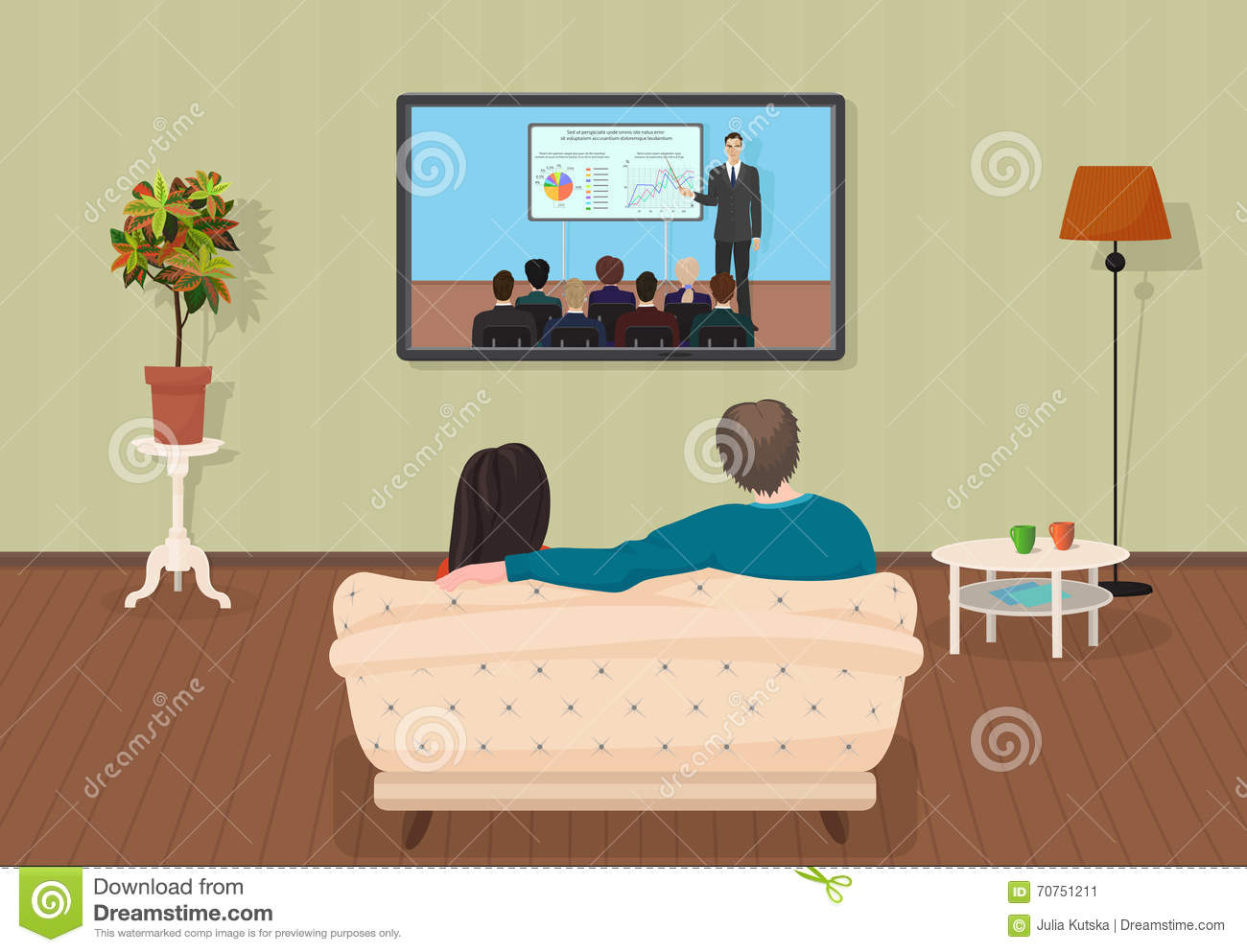 Young Family Man And Women Watching Tv Training Tutorial Program Together In The Living Room