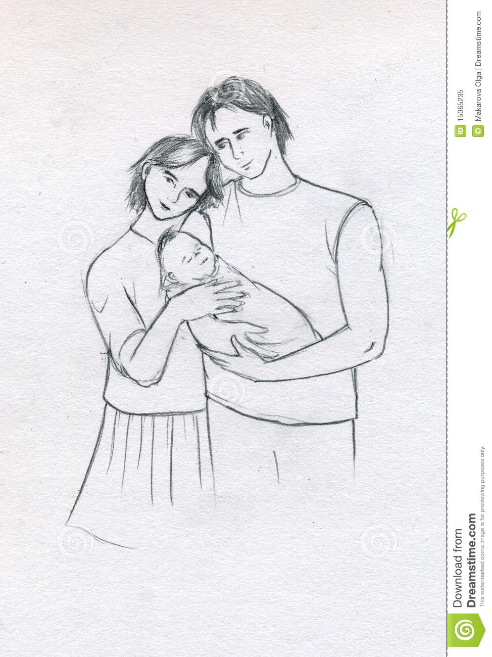 Young family with newborn stock illustration illustration of