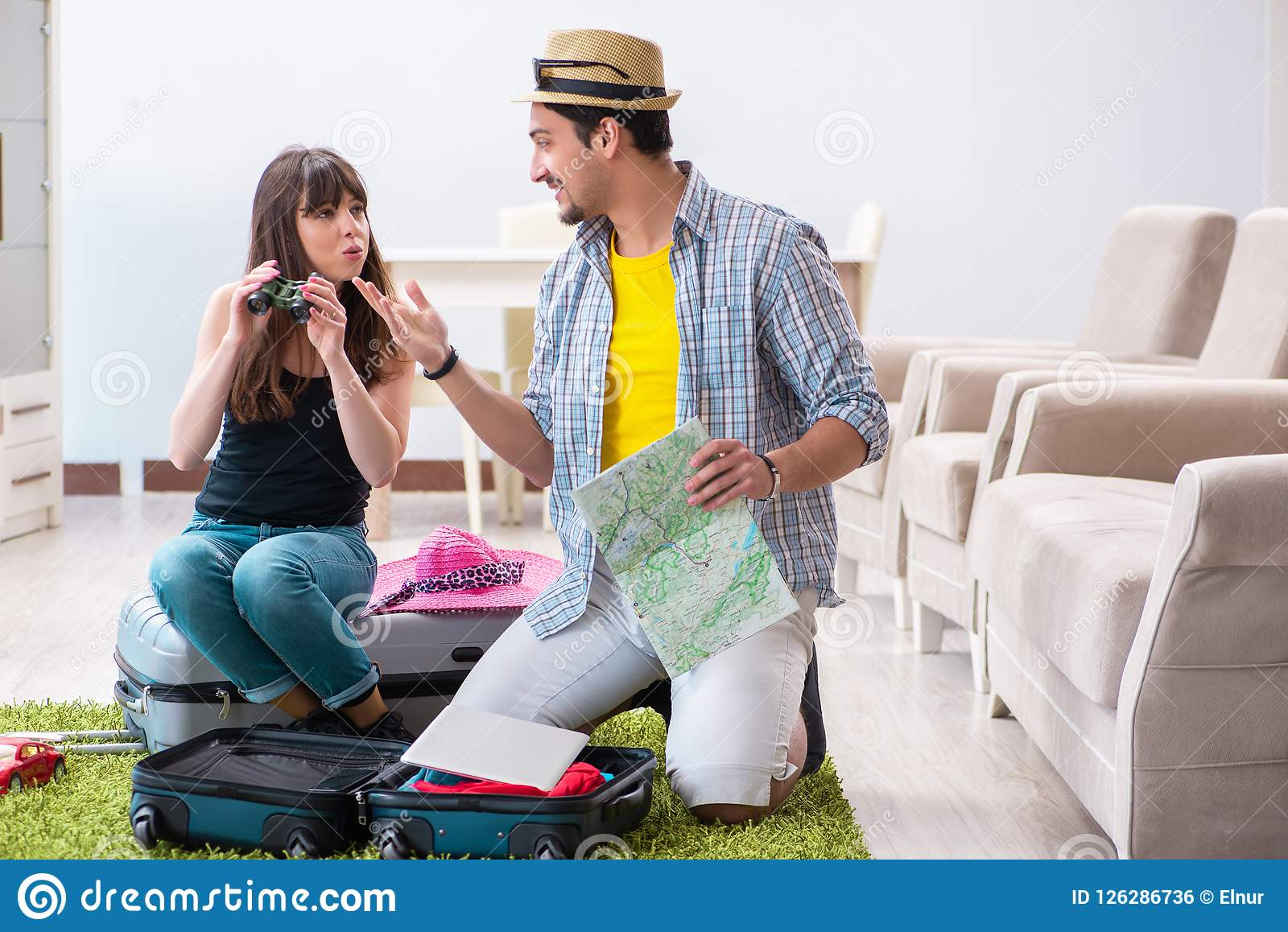 the young family packing for vacation travel stock photo image of