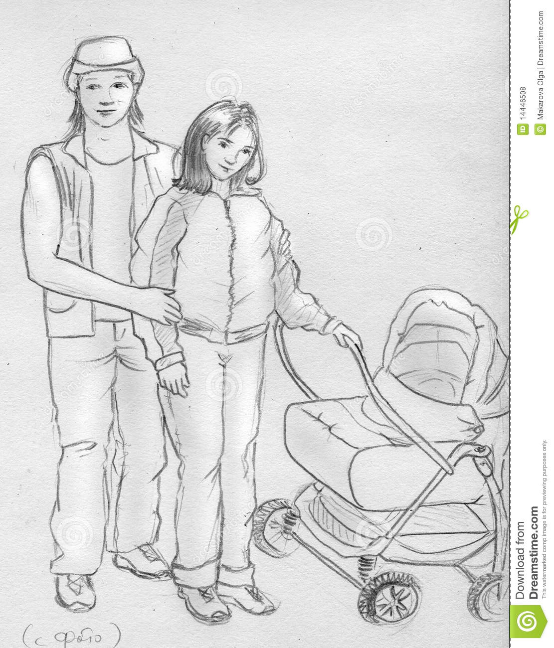 Young family sketch stock illustration illustration of wife