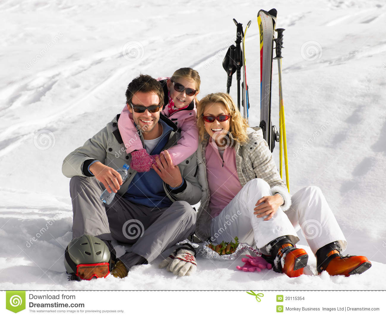 Young Family On Ski Vacation