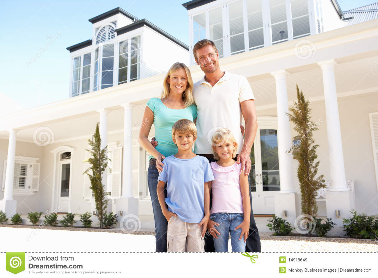 Young family standing outside dream home royalty free for Family in house