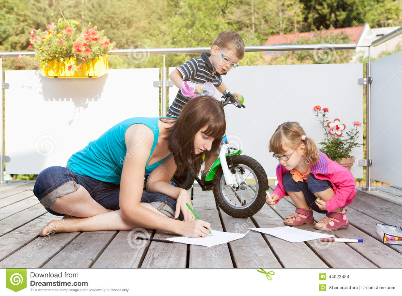 Young family on terrace stock photo image 44023484 for Kids on the terrace