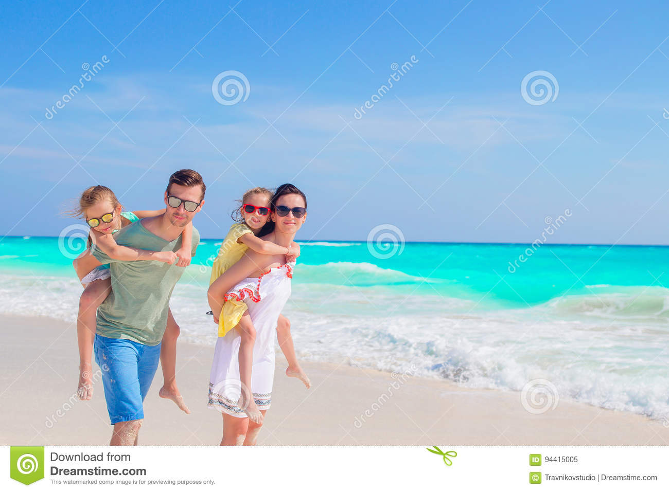 Young Family On Vacation Have A Lot Of Fun The Beach Stock Image