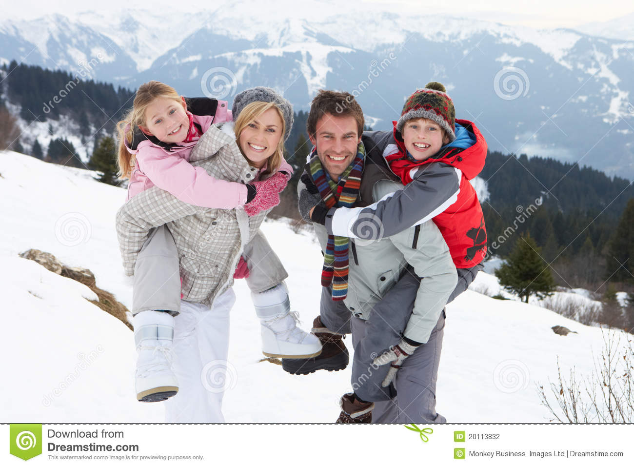 Happy young family in winter vacation stock image for Best family winter vacations
