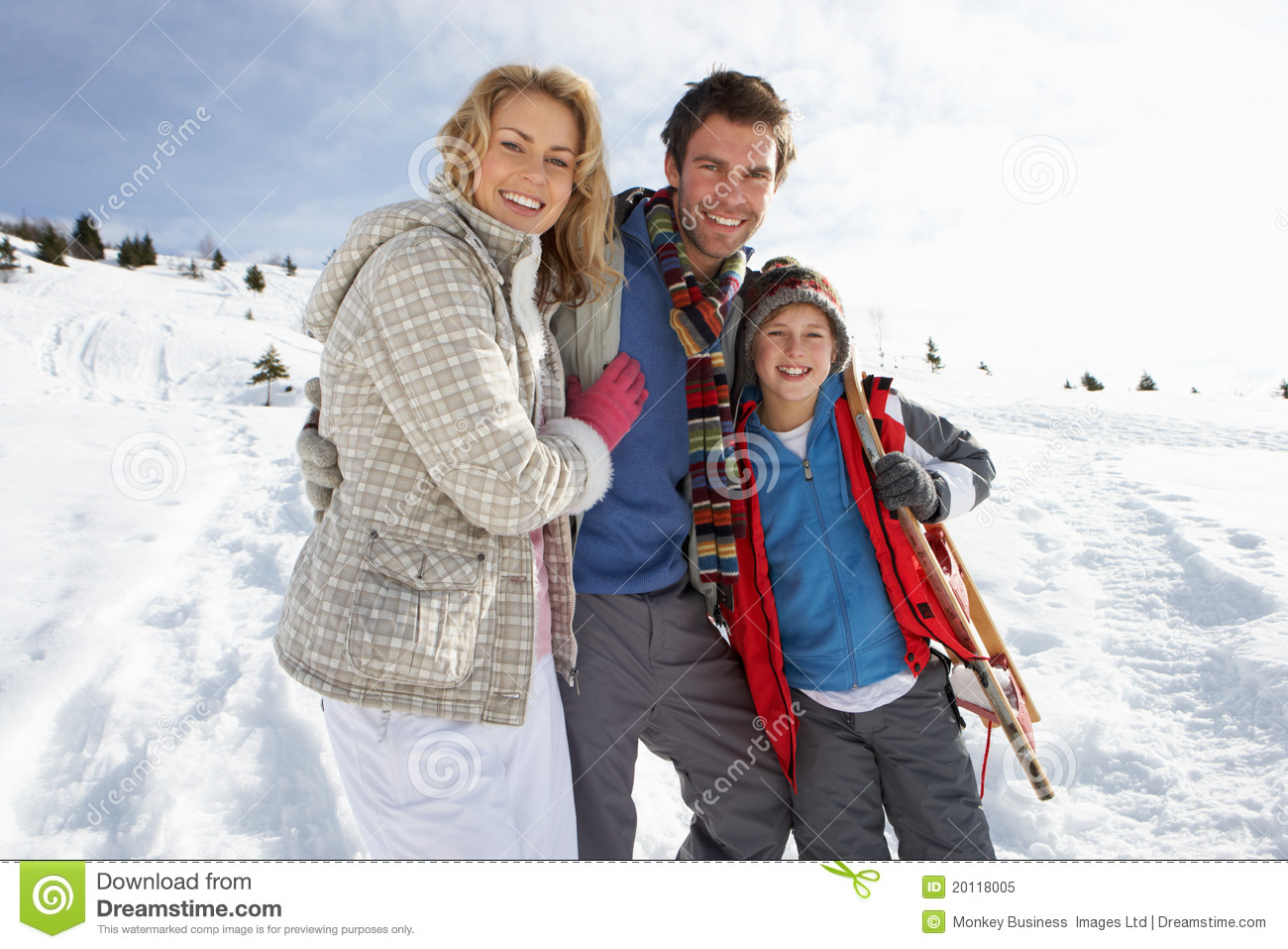 Young family on winter vacation royalty free stock photo for Best family winter vacations