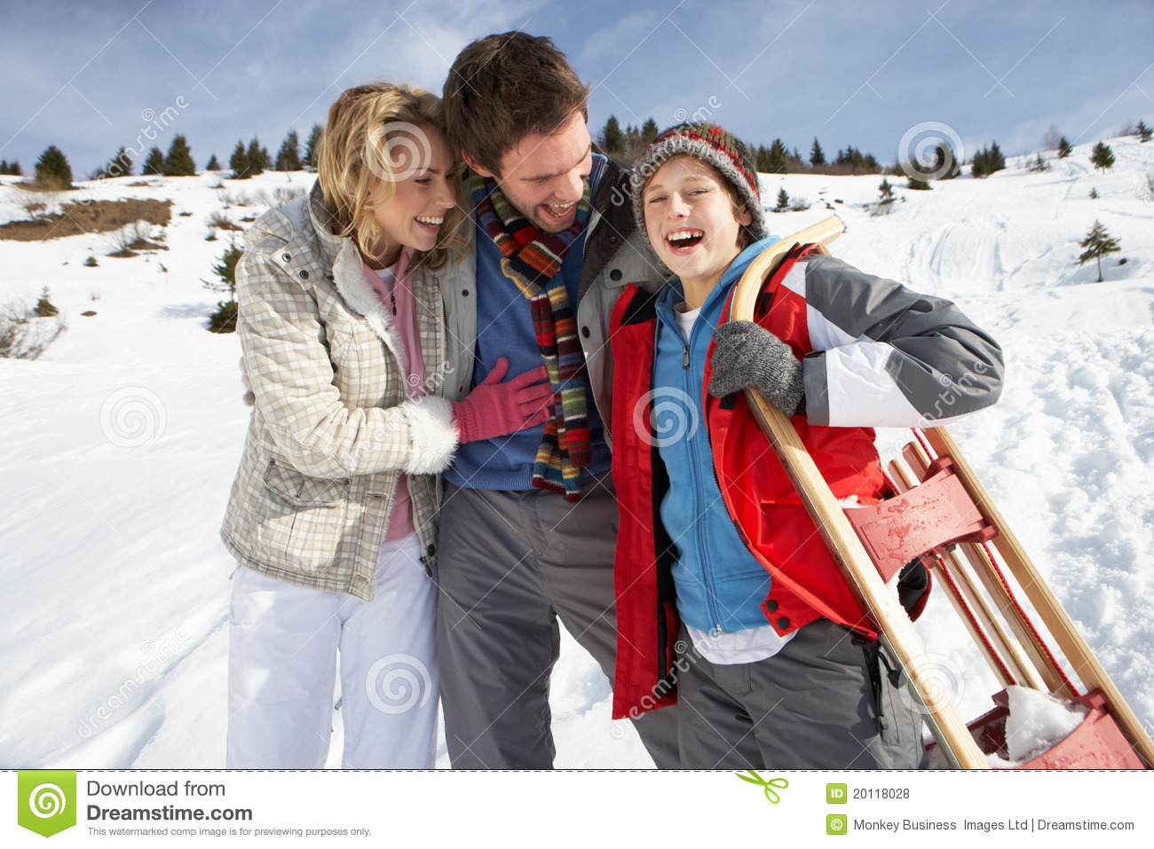 Young family on winter vacation royalty free stock photos for Best family winter vacations