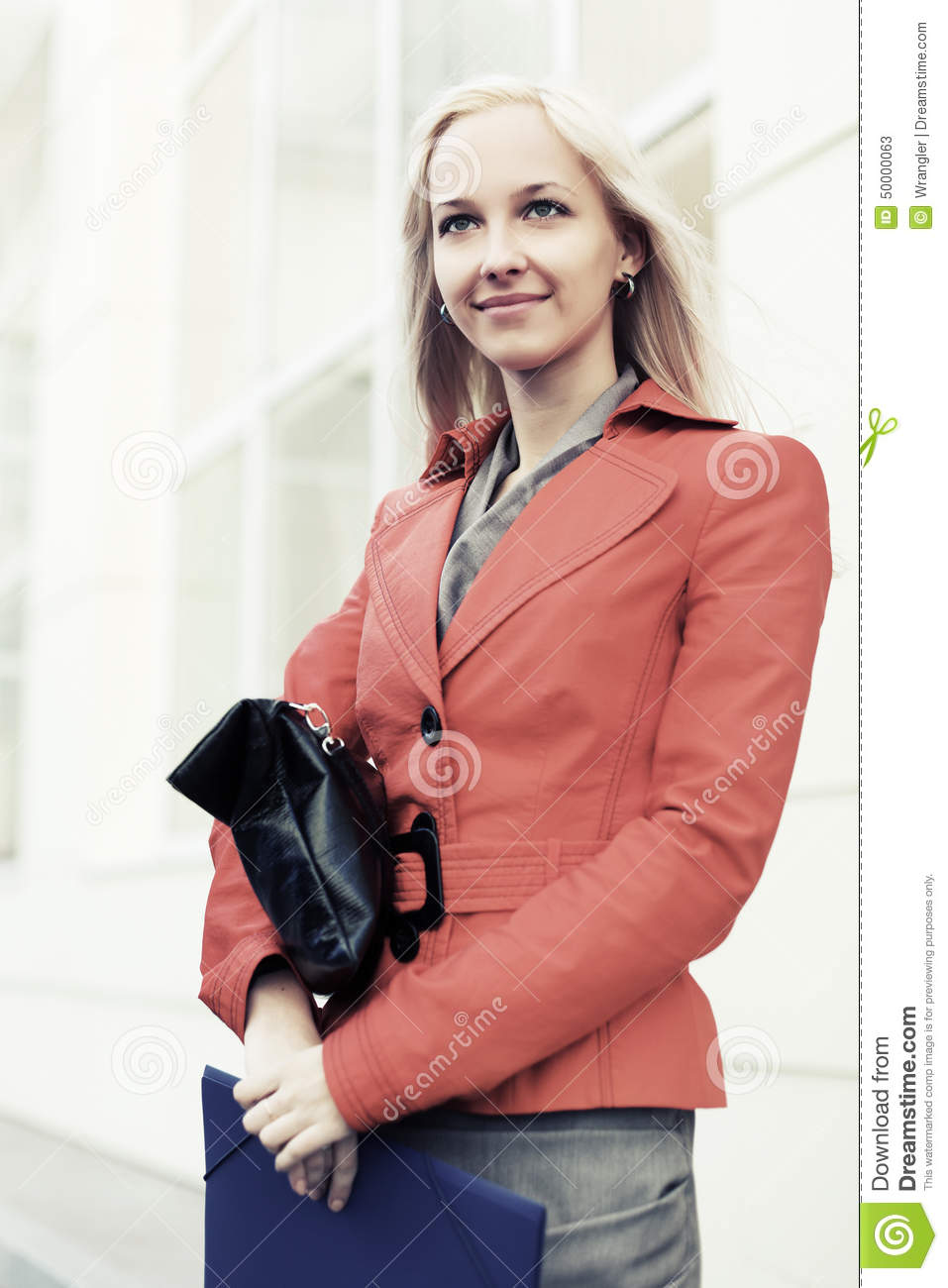 Young Business Woman Holding A Red File Royalty Free Stock Photography 51122777