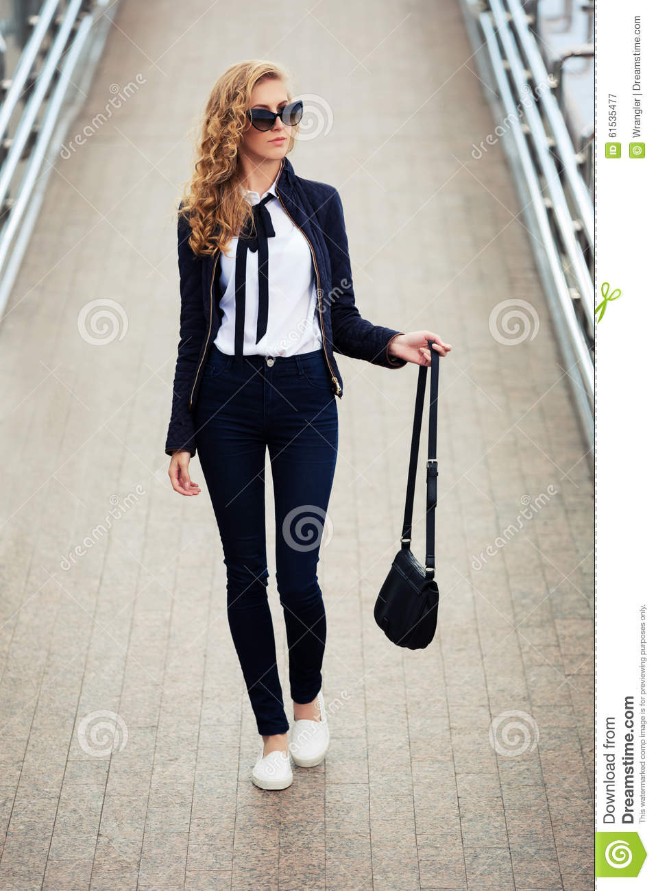 Young Fashion Business Woman In Sunglasses On The City Street Stock Photo - Image -1083