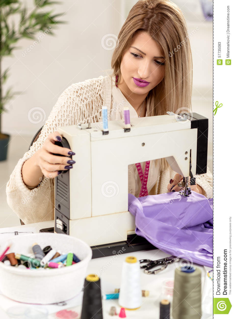 young fashion designer sew stock photo image 57735083