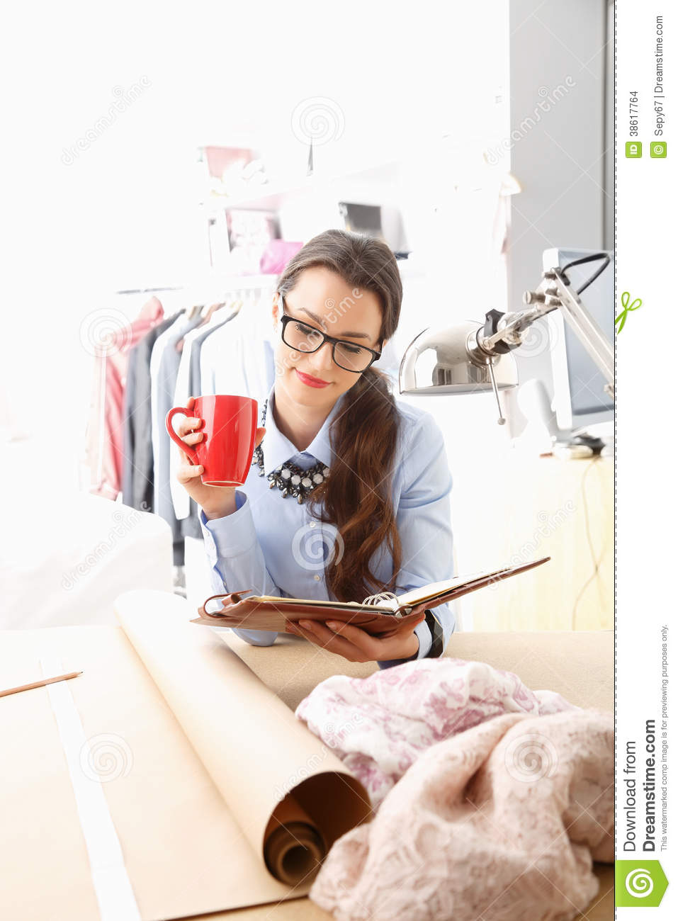 Young Fashion Designer Working In Her Studio Stock Images Image 38617764