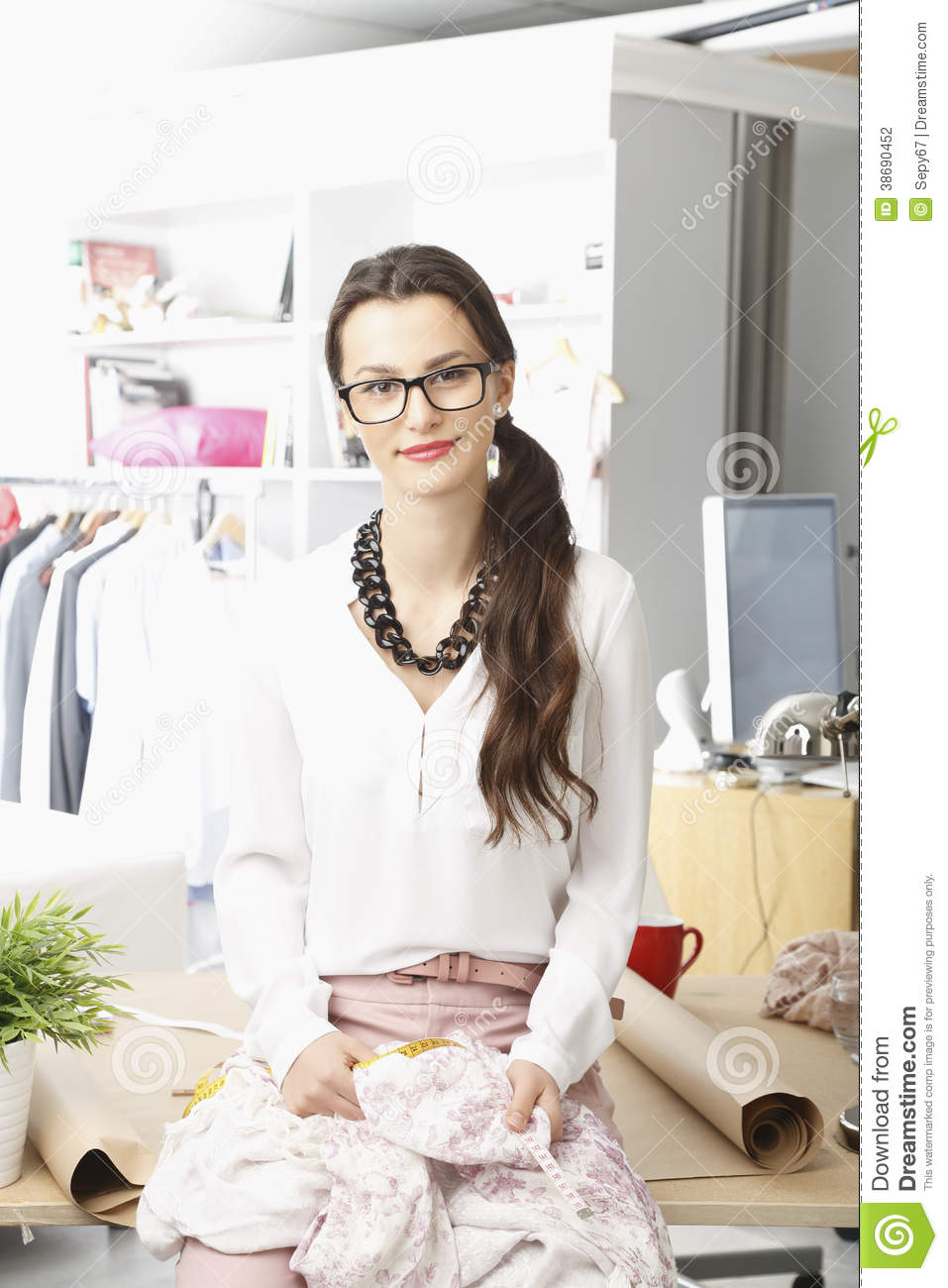 Female Fashion Designer Working At Studio Stock Photo 12024246