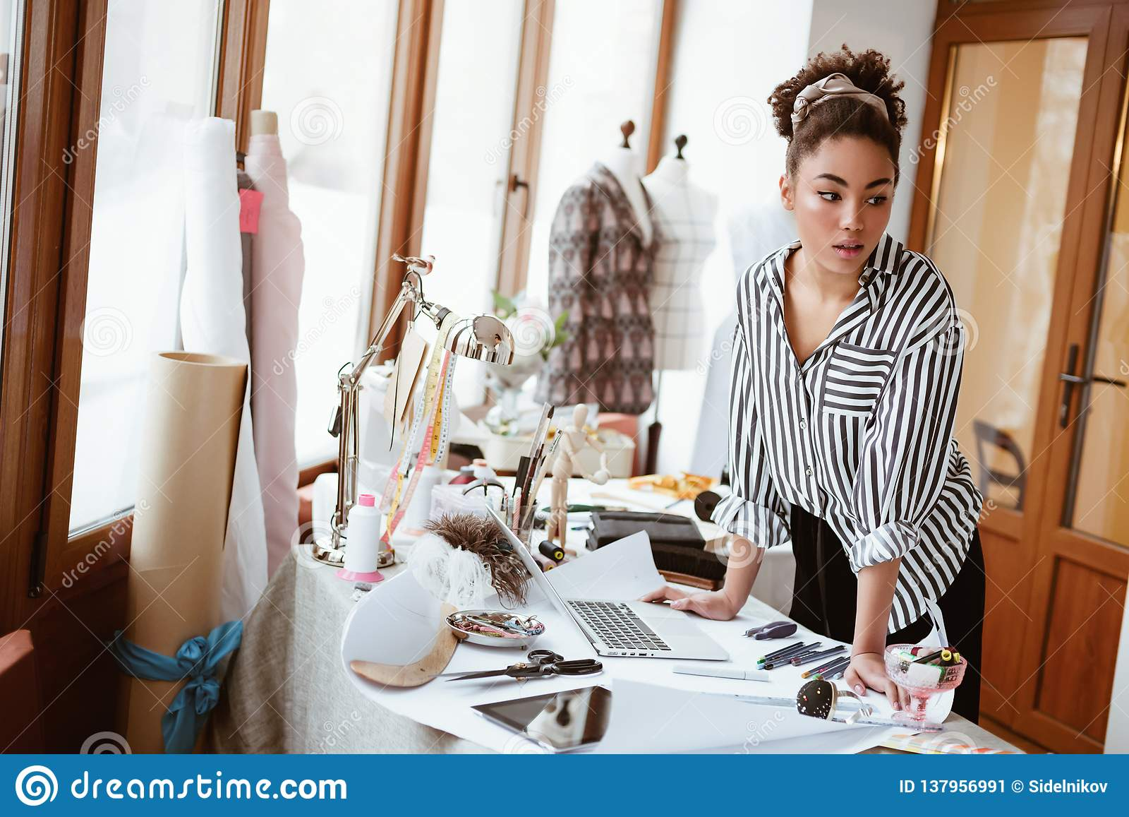 Young Fashion Designer At Workplace African Woman Looking To Someone Stock Image Image Of Portrait Business 137956991