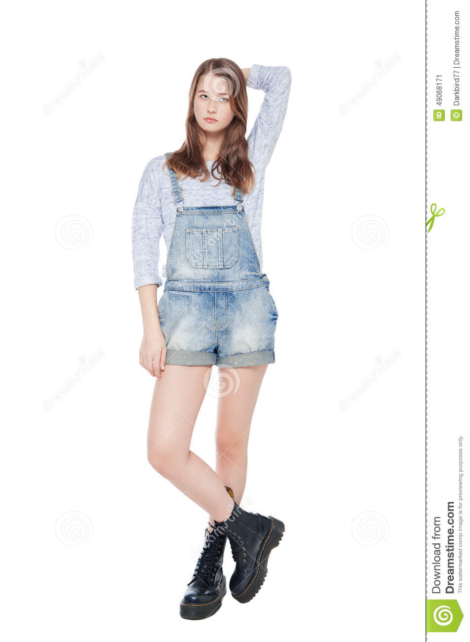 Young Fashion Girl In Jeans Posing Isolated Royalty-Free ...