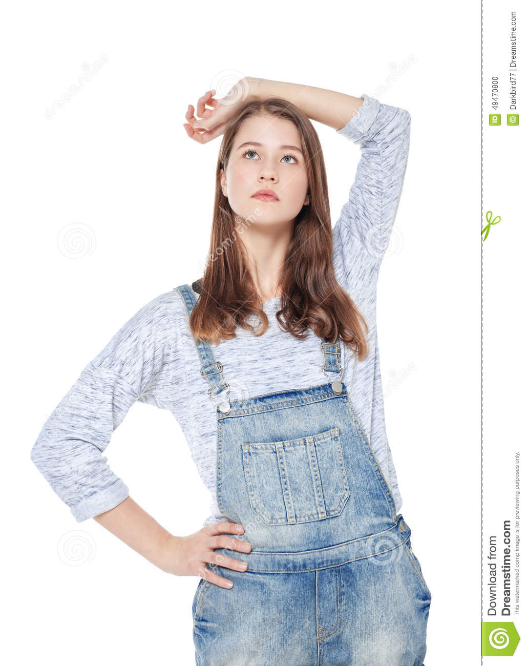 Young Fashion Girl In Jeans Overalls Posing Isolated Stock Photo Image 49470800