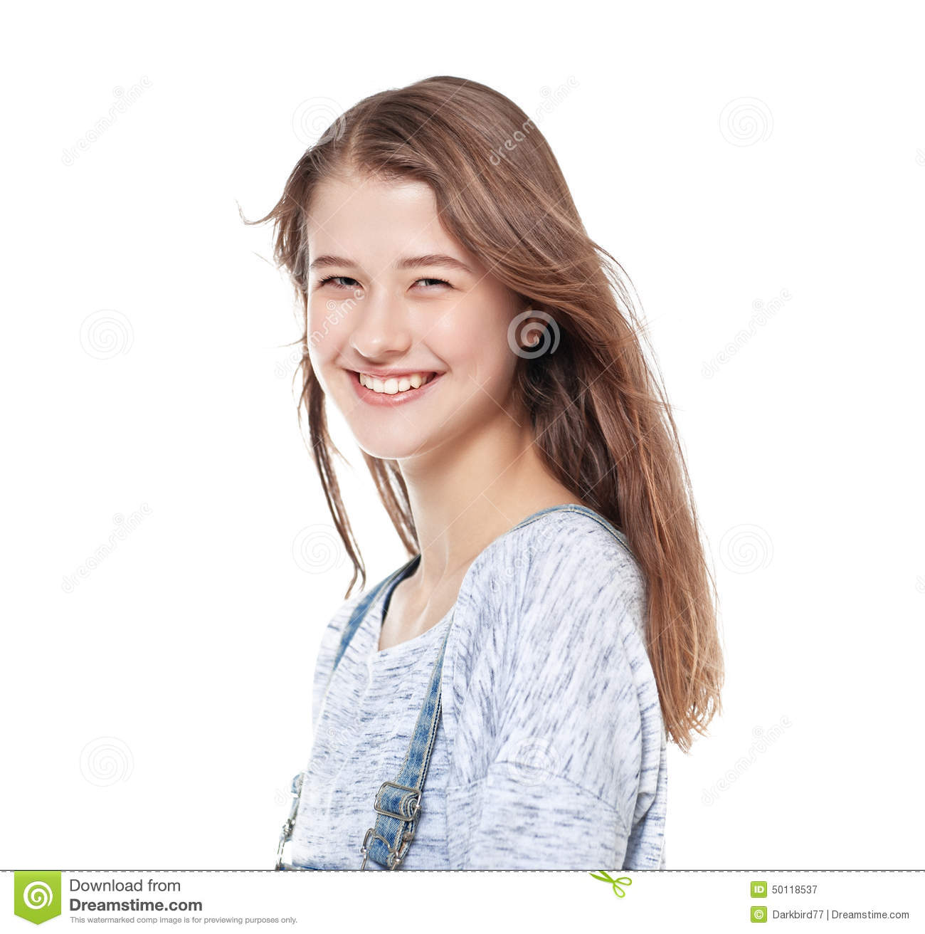 Young Fashion Girl In Jeans Posing Isolated Royalty Free Stock Photography