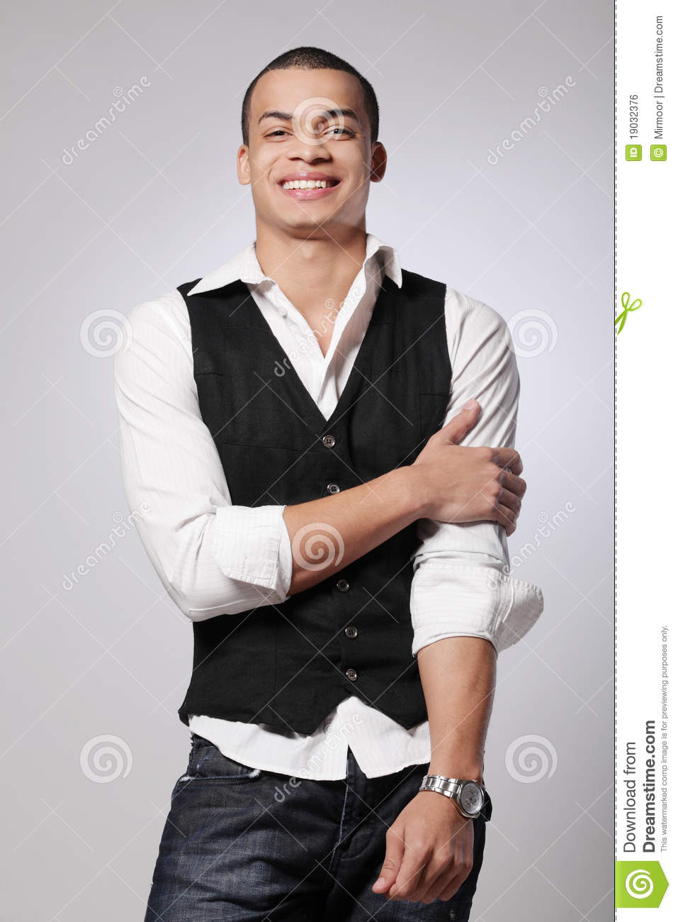 Young Fashion Male Model On Gray Background Royalty Free Stock Image Image 19032376