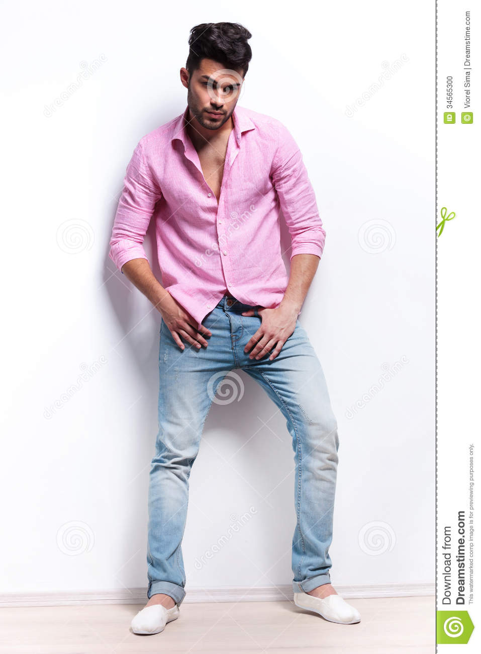 Young Fashion Man With Hands At Crotch Stock Photo Image 34565300