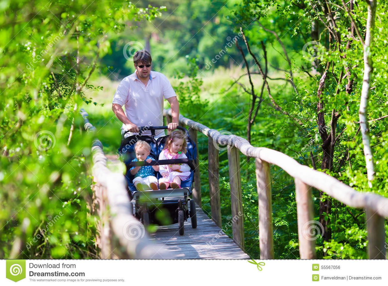 Young Father With Double Stroller In A Park Stock Photo