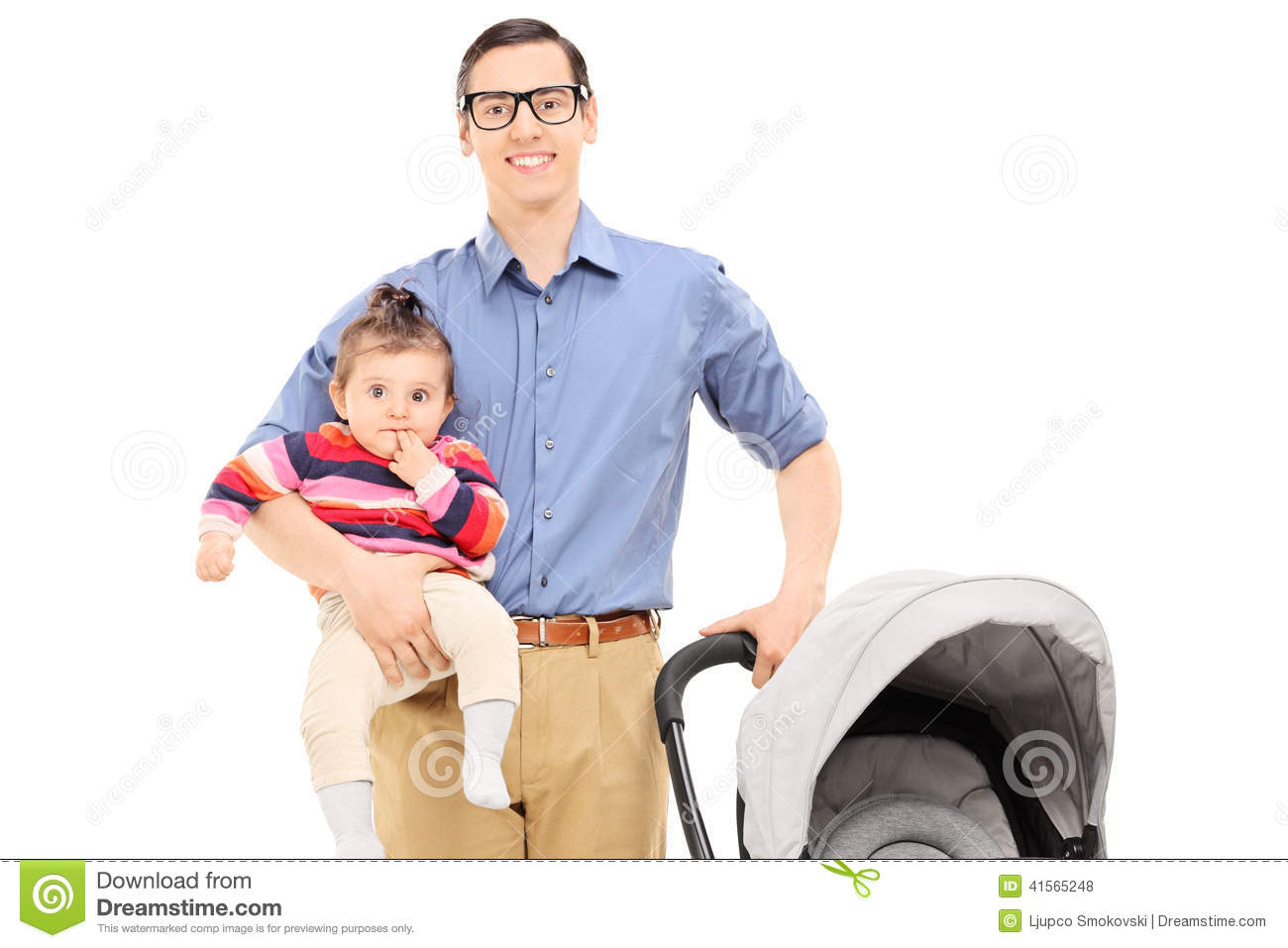 young father holding his baby daughter and baby stroller moving clipart for powerpoint moving clip art images