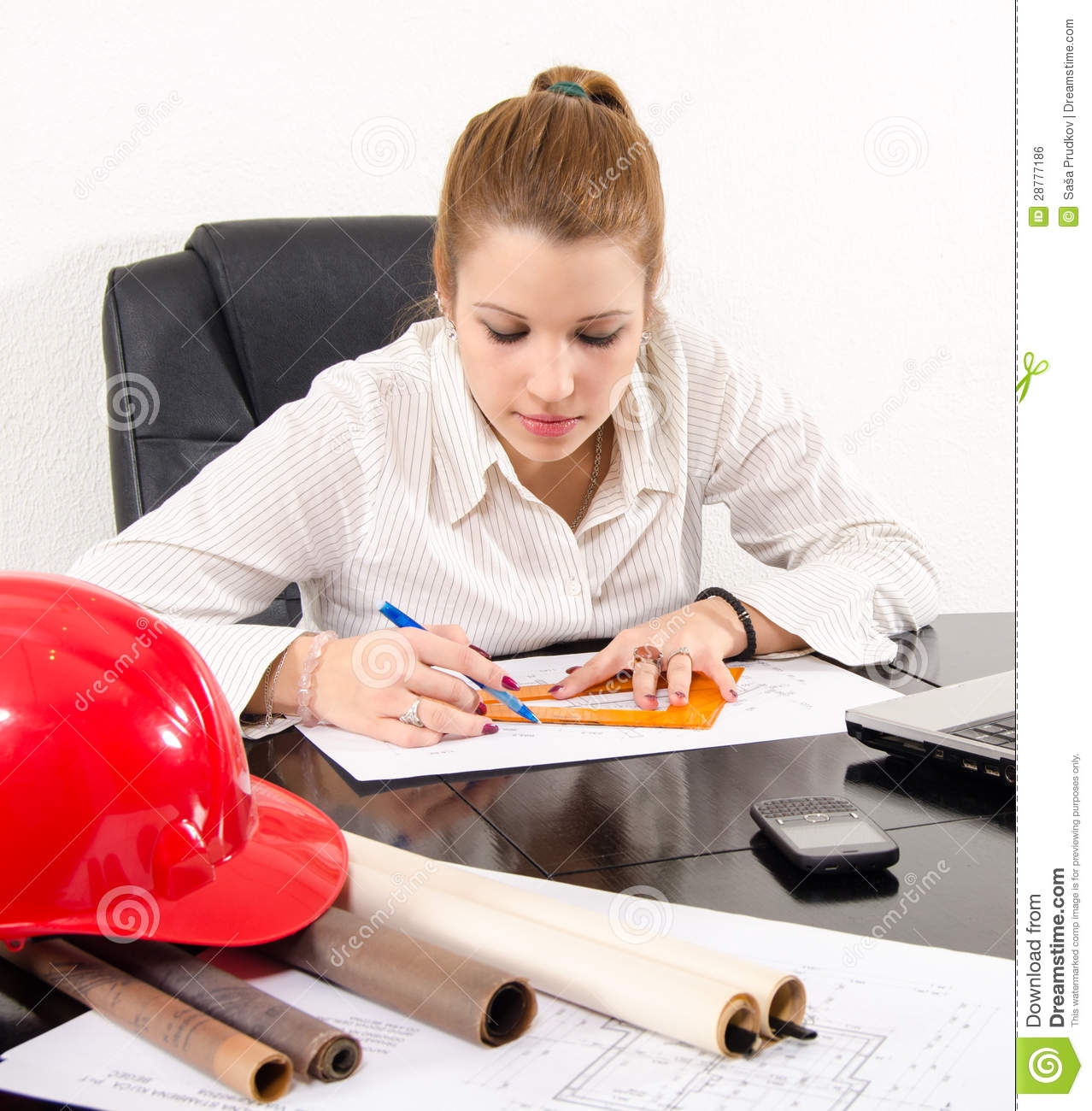 Architect: Young Female Architect Working On The Project Royalty Free