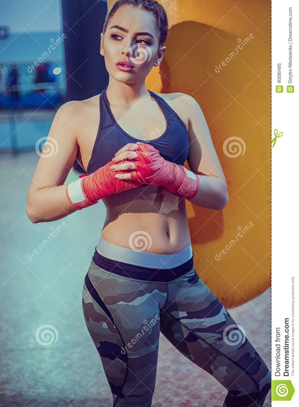 0c9e8f559 Young female boxer workout in gym. fitness blonde girl in sport wear with perfect  body