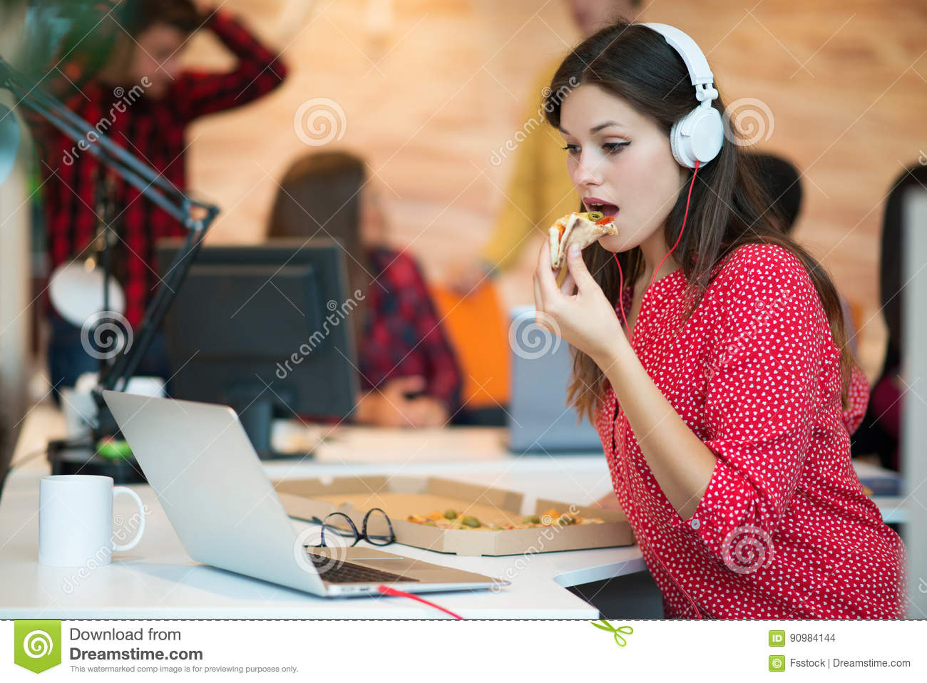 Young Female In Call Center Team Eating Pizza Stock Photo Image Of Coworker Lunch 90984144