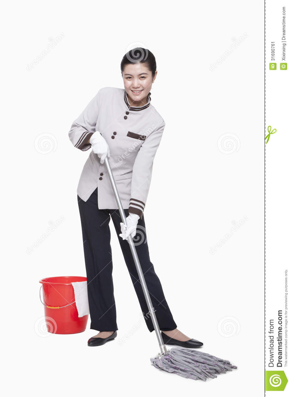 Young Female Caretaker Cleaning With Bucket And Mop
