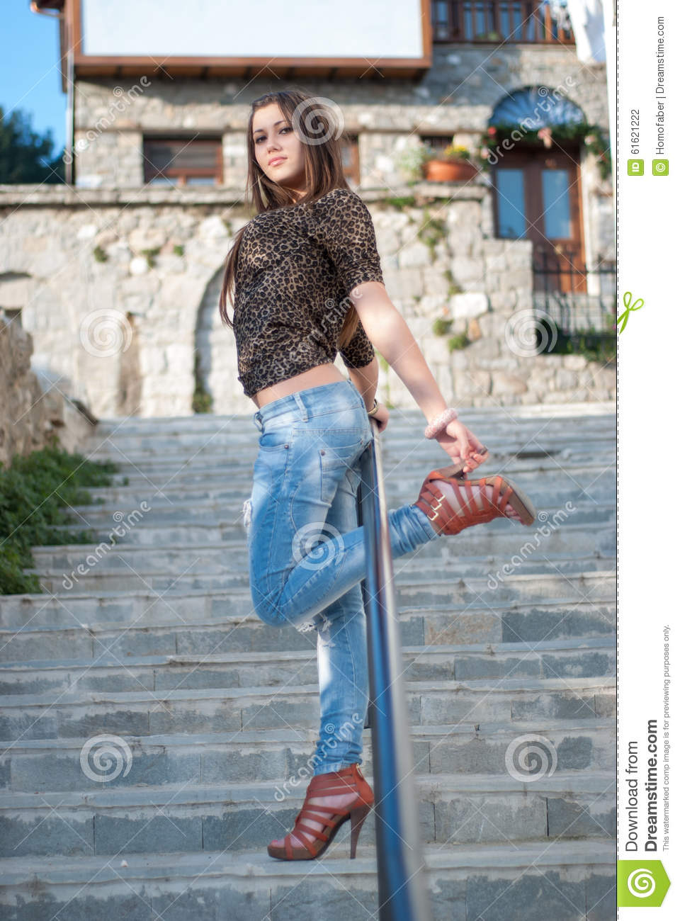 Young Female In Casual Wear Outside Stock Photo Image