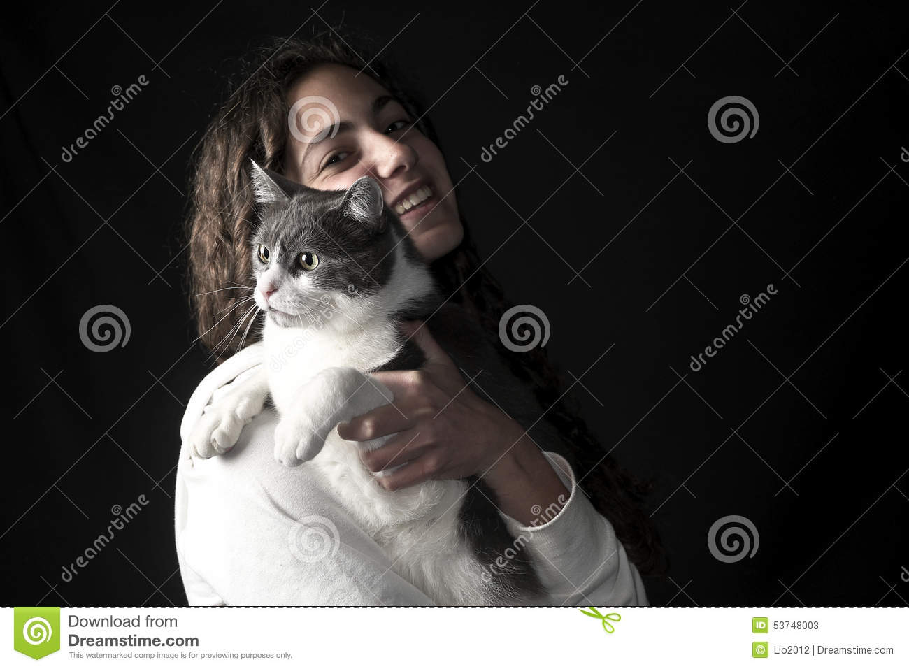 Young female with cat