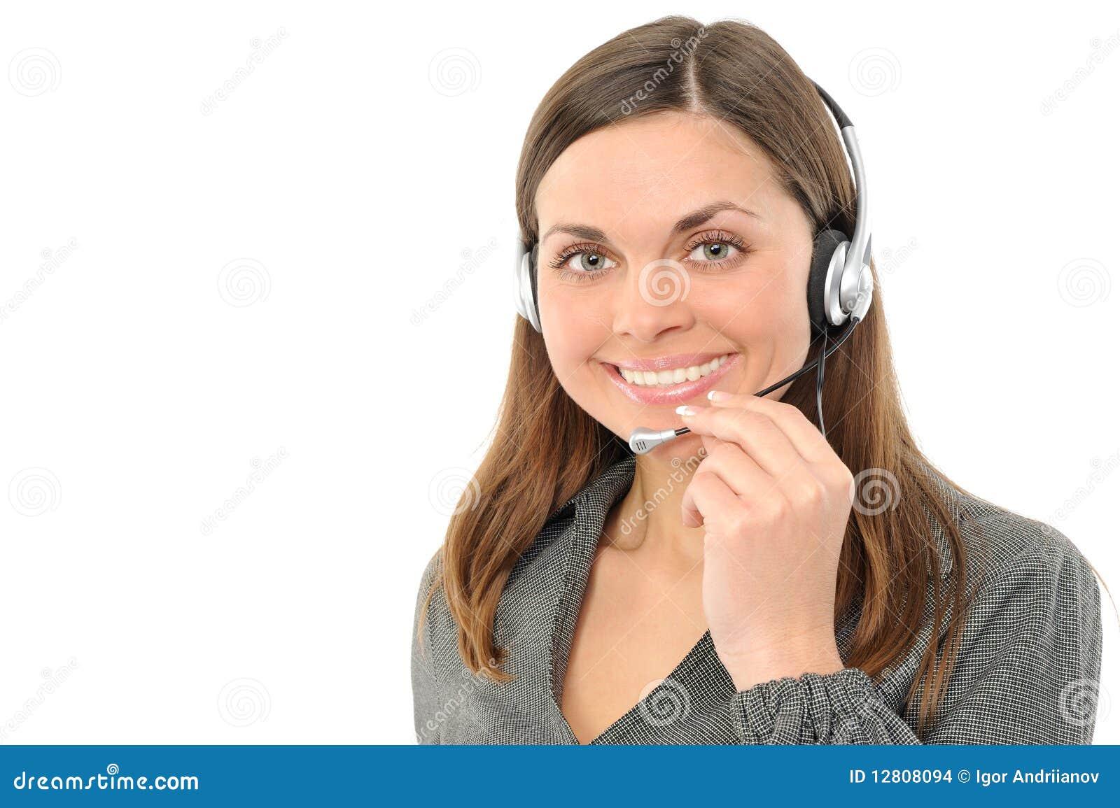 Young Female Customer Service Representative Stock Photo