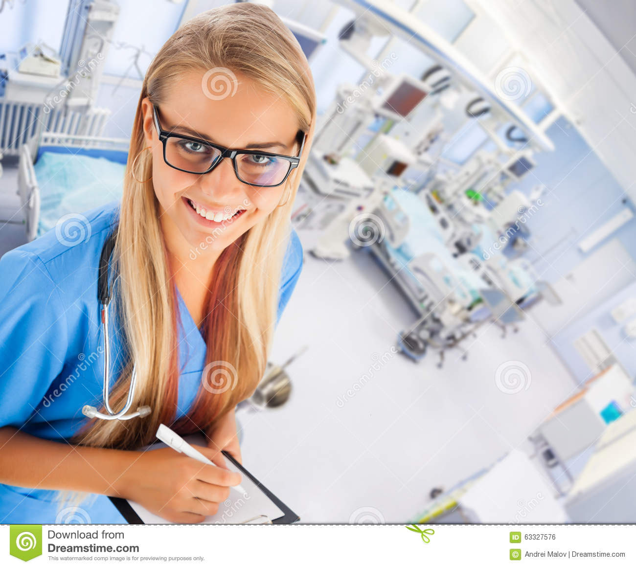 Young female doctor in ICU