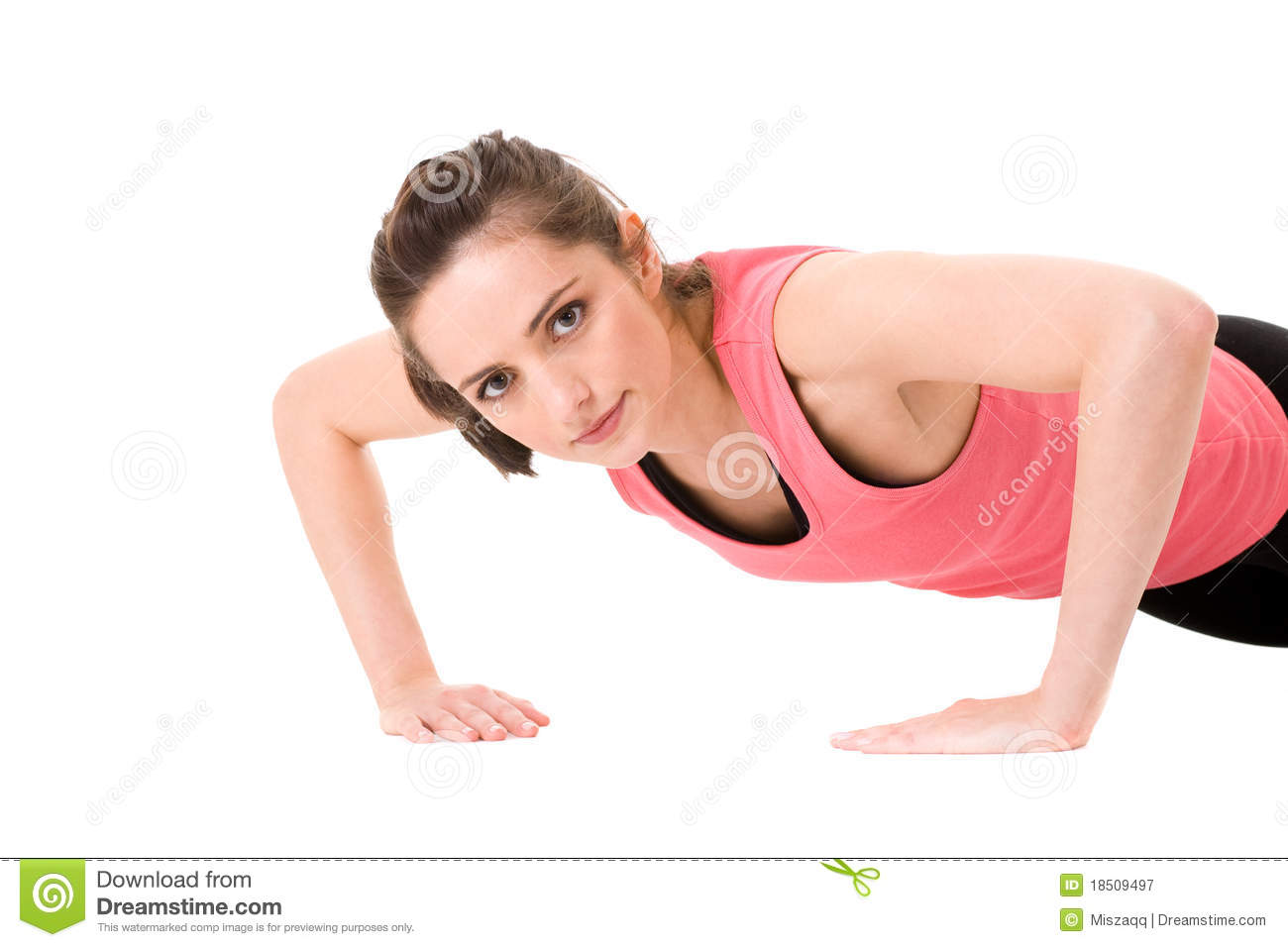 Young female doing some push-up on white floor