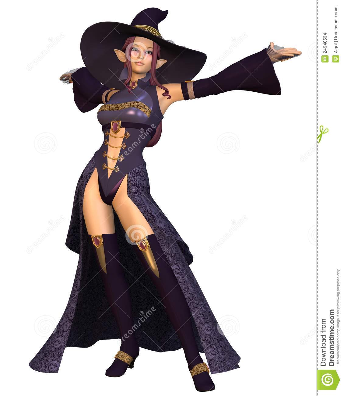 young female elven wizard in purple hat and robes 3d digitally