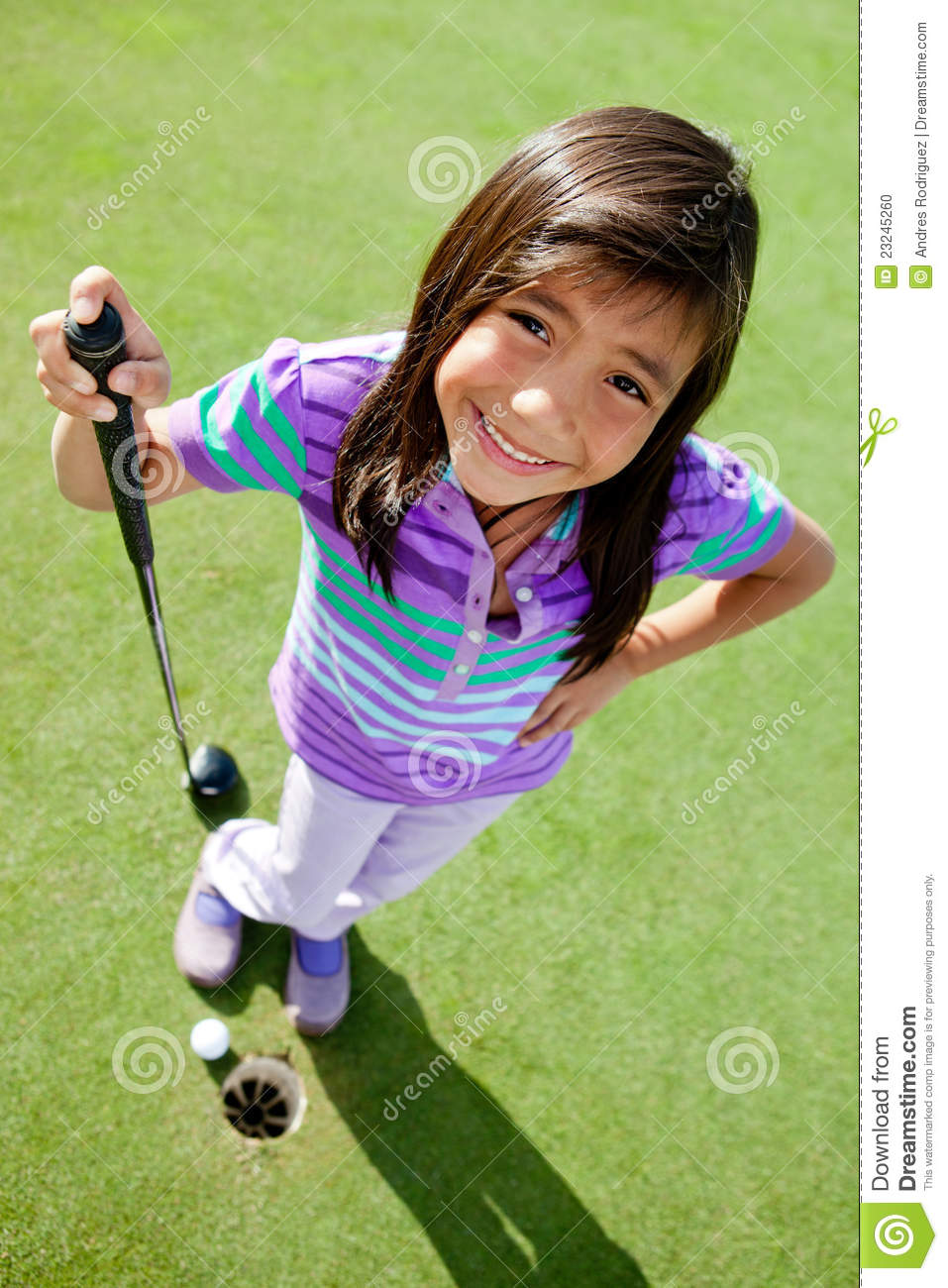 Young Female Golf Player Stock Photo. Image Of Casual