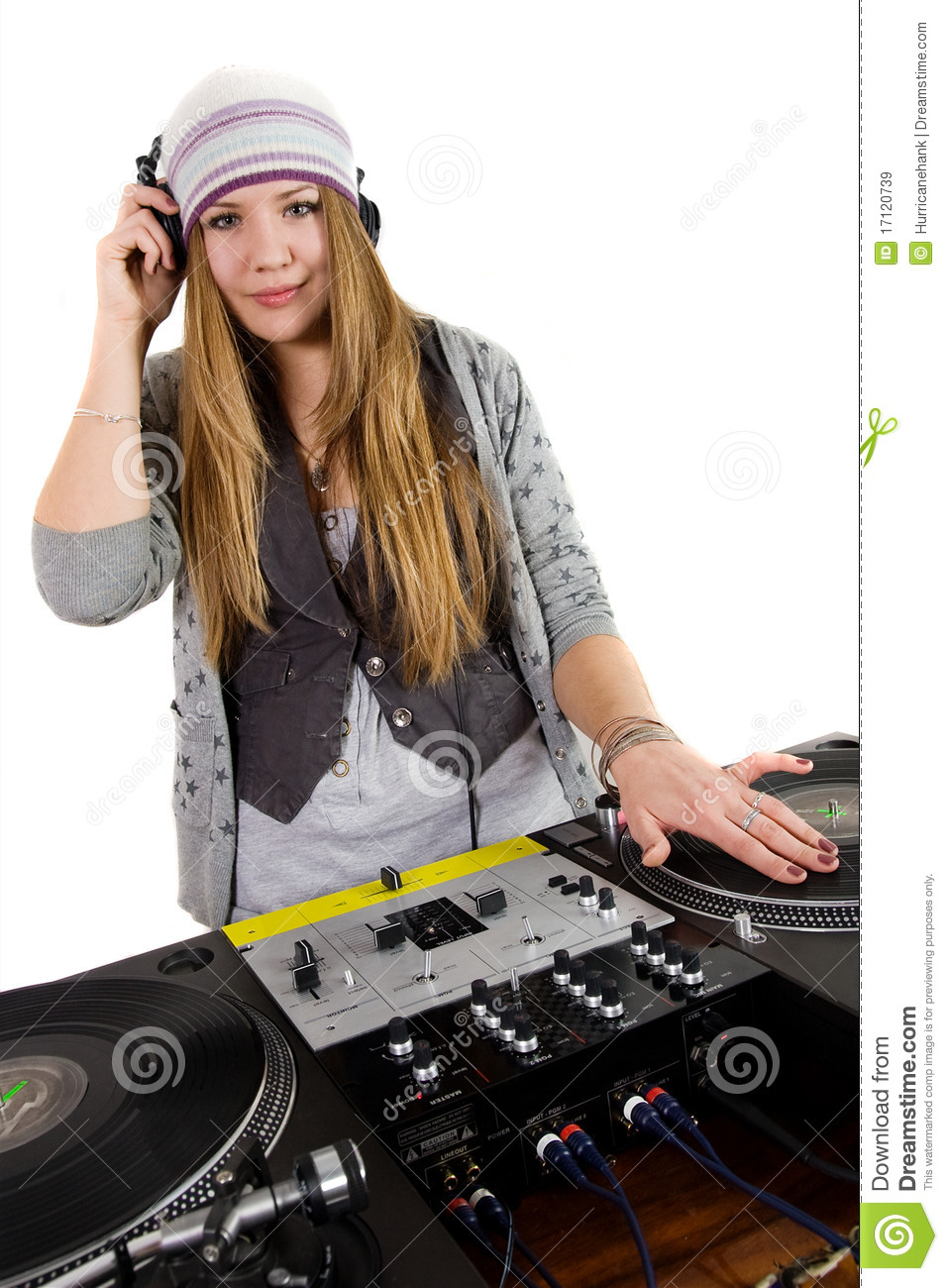 Young Female Hip Hop Dj Playing Royalty Free Stock Images