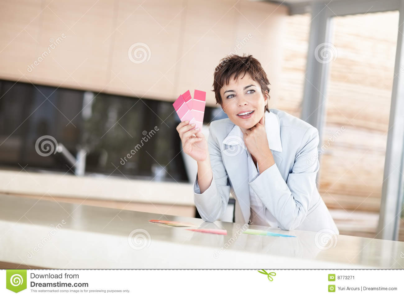 Stock Image Young Female Interior Designer Holding