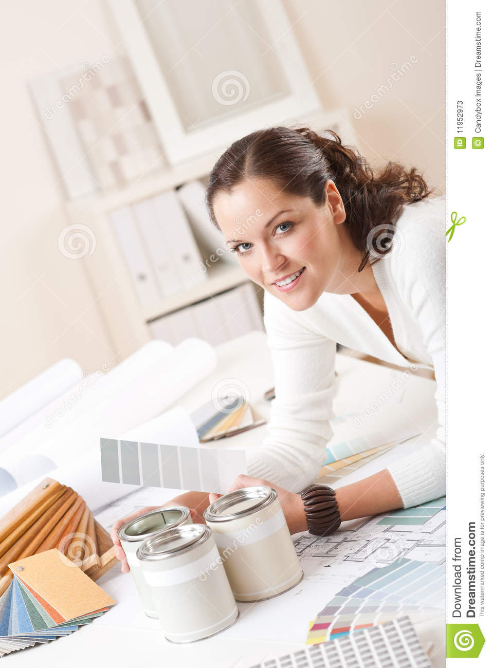 Young Female Interior Designer At Office Stock Photos
