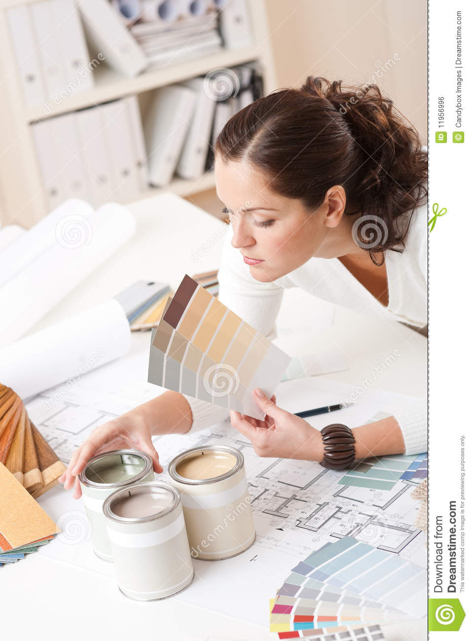 Young Female Interior Designer At Office Royalty Free