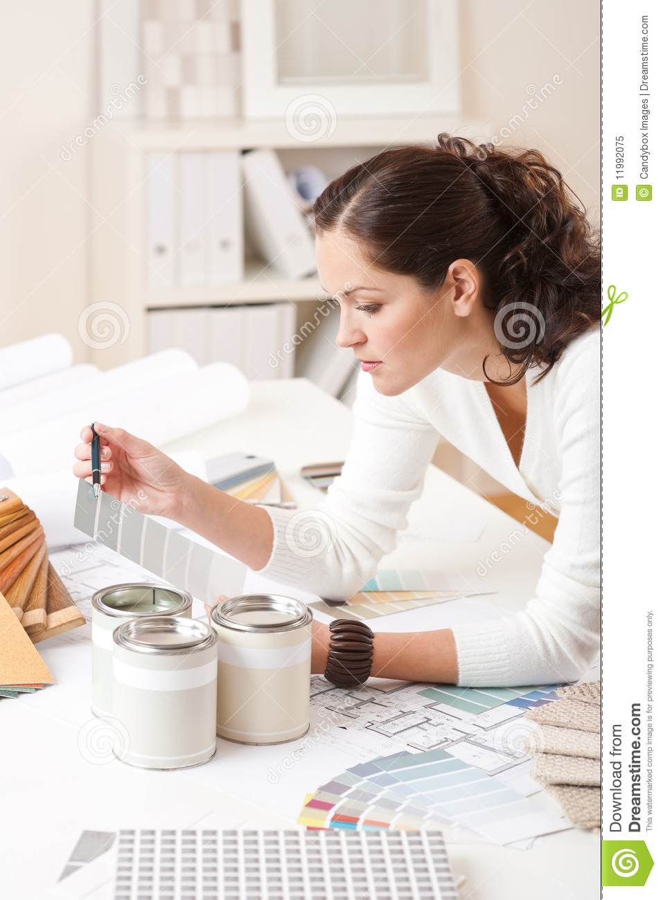 Young Female Interior Designer With Paint Royalty Free