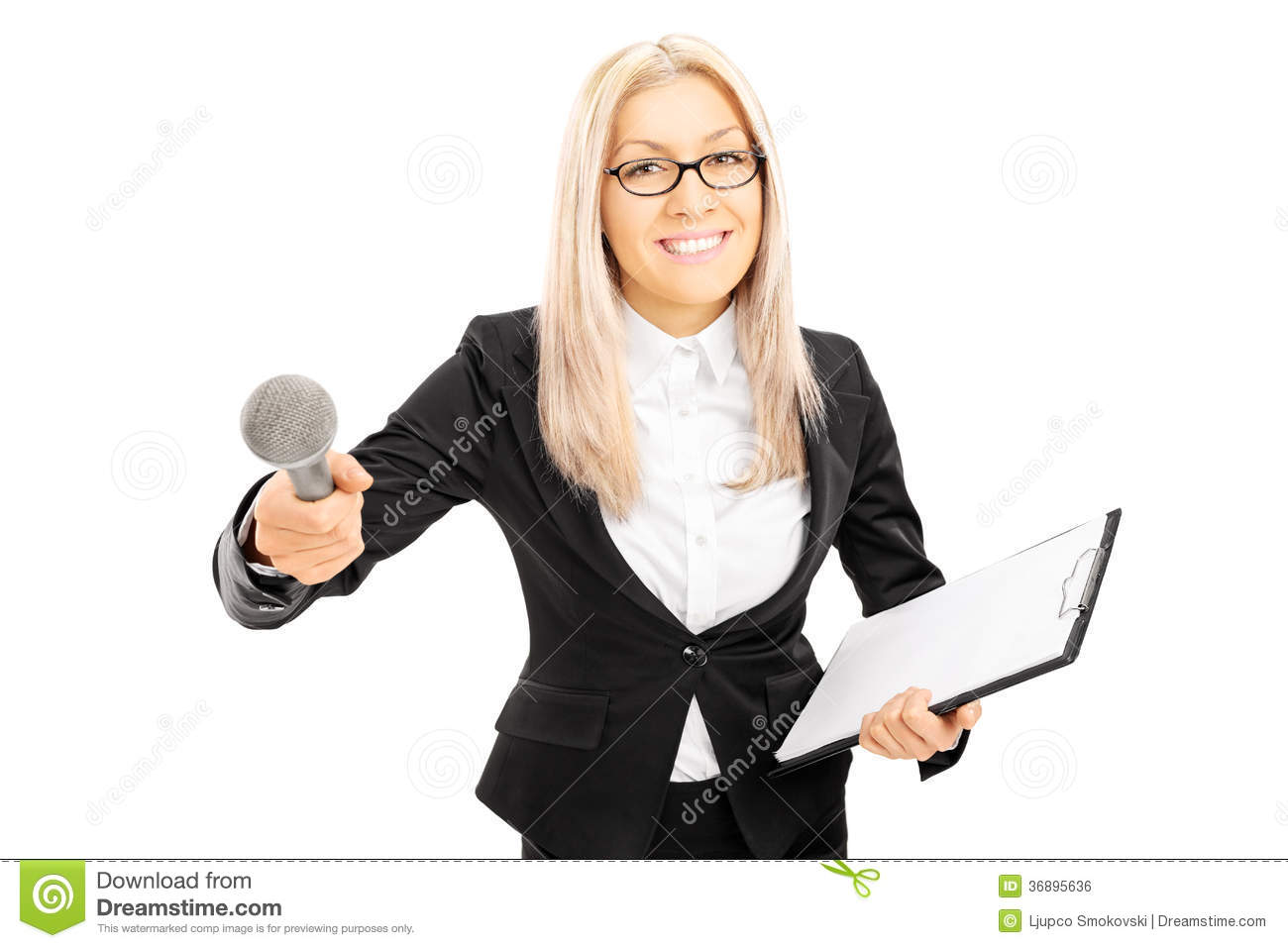 Young female interviewer holding clipboard and microphone, isolated on ...
