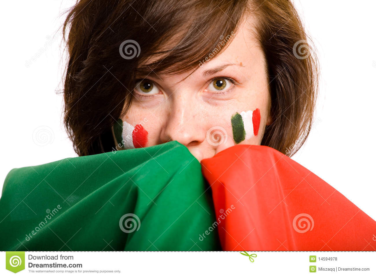 Young female with italian flag, isolated