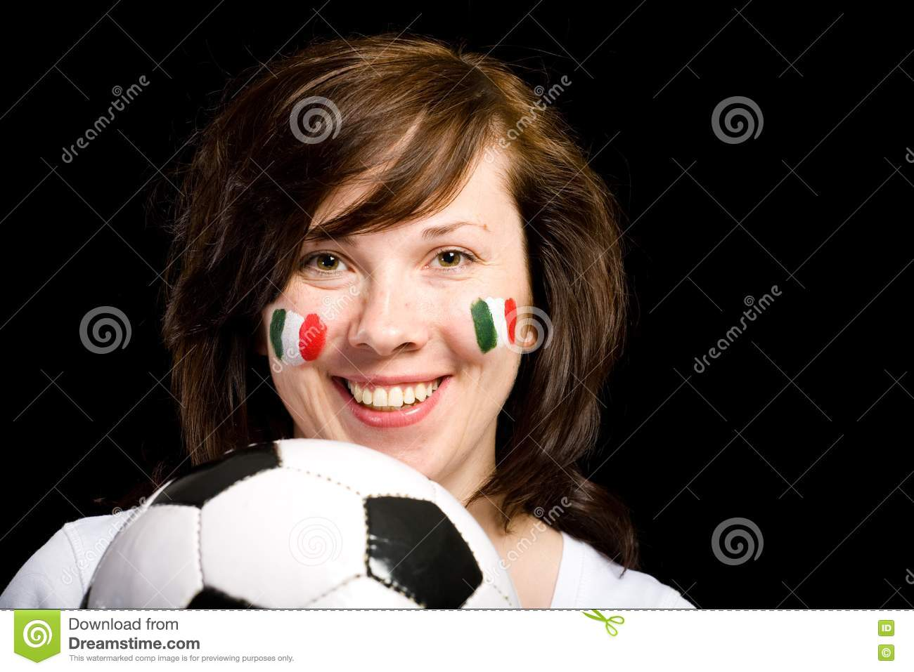 Young Female Italian Soccer Team Fan Isolated Royalty Free ...